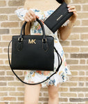 Michael Kors Mott Large Satchel Black Leather + Trifold Wallet