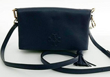 Tory Burch Thea Mini Foldover Crossbody Royal Navy Pebbled Leather Tassel