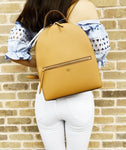 Tory Burch Emerson Medium Backpack Top Zip Saffiano Leather Cardamom Tan