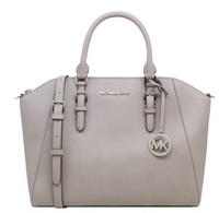 Michael Kors Ciara Large Top Zip Satchel Saffiano Leather Pearl Grey - Gaby's Bags