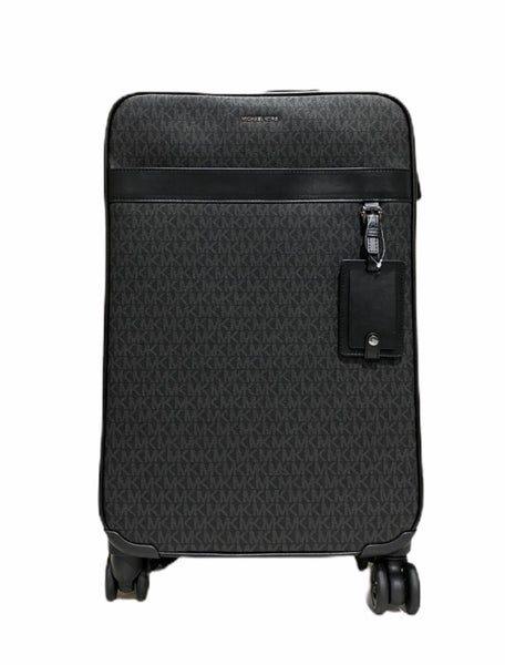 Michael Kors Harrison Travel Signature Trolley Suitcase Carry On Bag Black MK