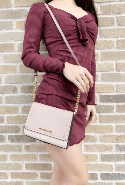 Michael Kors Hayes Small Clutch Crossbody Pink Brown Signature - Gaby's Bags