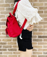 Kate Spade Carley Flap Cargo Backpack Nylon Leather Favorite Red