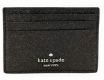 Kate Spade Joeley Glitter Small Slim Card Holder Black - Gaby's Bags