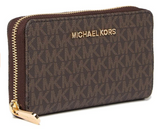 Michael Kors Jet Set Multifunction Zip Around Wallet Monogram Brown MK