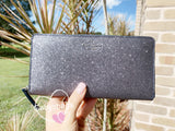 Kate Spade Joeley Glitter Neda Large Continental Wallet Zip Around Dusk Navy - Gaby's Bags