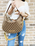 Michael Kors Jet Set Bedford Hobo Bag Jacquard MK Beige Ebony Canvas