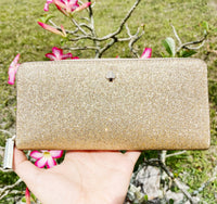 Kate Spade Burgess Court Lindsey Zip Around Continental Wallet Pale Gold Glitter
