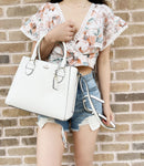 Kate Spade Aliana Carter Large Satchel Crossbody Bright White Pebbled Leather