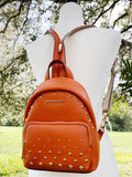 Michael Kors Erin SMALL Convertible Backpack Tangerine Studded Leather Fannyback