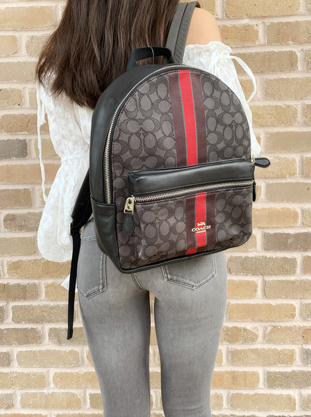 Coach F68034 Medium Charlie Backpack Signature Jacquard Red Stripe - Gaby's Bags