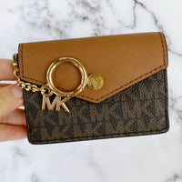 Michael Kors Kala Keychain Card Case Brown MK Signature PVC Leather