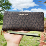 Michael Kors Jet Set Large Continental Wallet Wristlet Brown MK Evergreen