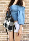 Kate Spade Cedar Street Plaid Maise Satchel Bag Crossbody Black White - Gaby's Bags