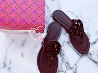 Tory Burch Miller Sandals Embossed Leather Claret Burgundy 8 - Gaby's Bags