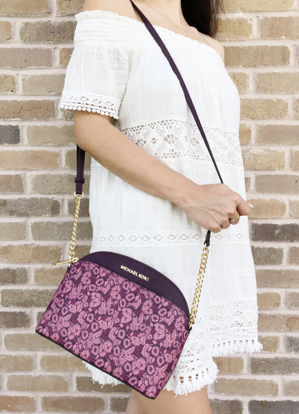 Michael Kors Emmy Small Cindy Dome Crossbody Damson Multi Purple Floral - Gaby's Bags