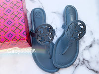 Tory Burch Miller Sandals Embossed Leather Blue Yonder 8.5 - Gaby's Bags