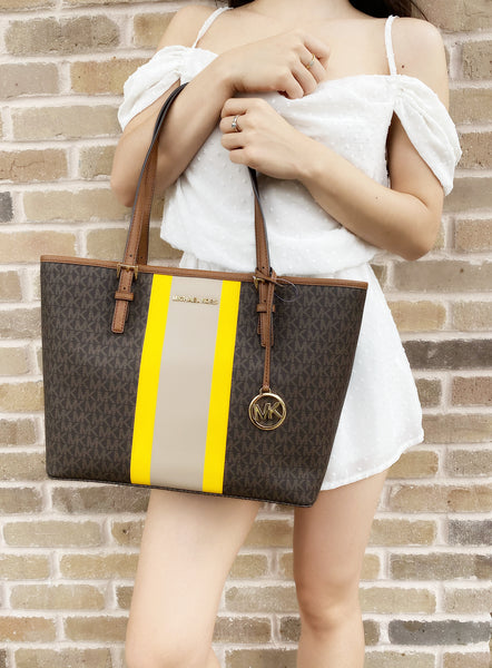 Michael Kors Jet Set Medium Carryall Tote MK Signature Brown Yellow Stripe - Gaby's Bags