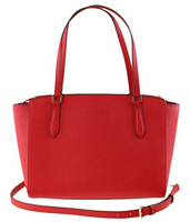 Tory Burch Emerson Small Top Zip Tote Crossbody Bag Brilliant Red Leather