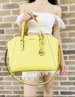 Michael Kors Ciara Large Top Zip Satchel Bag Sunshine Yellow Saffiano Leather