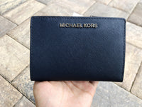 Michael Kors Medium Card Case Carryall Wallet Navy Pale Blue Floral - Gaby's Bags