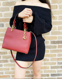 Michael Kors Cynthia Small Saffiano Leather Satchel Brandy Red Crossbody