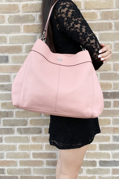 Coach F28997 Lexy Pebbled Leather Shoulder Bag Tote Petal Pink - Gaby's Bags