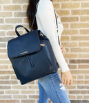 Michael Kors Ginger Medium Drawstring Backpack Messenger Handbag Navy Leather