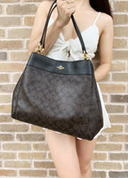 Coach F27972 Lexy Shoulder Bag Brown Signature Black Leather Trim - Gaby's Bags