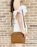 Michael Kors Emmy Medium Cindy Dome Crossbody Luggage Brown Saffiano Leather