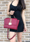 NWT Michael Kors Tina Studded East West Satchel Bag Flap Crossbody Cherry Red - Gaby's Bags