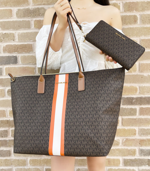 Michael Kors Travel XL Center Stripe Tote Brown Mk Orange + Continental Wallet