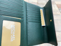 Michael Kors Jet Set Travel Large Trifold Wallet Racing Green - Gaby's Bags