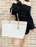 Michael Kors Shania Signature Leather Large East West Chain Tote Vanilla MK Ballet - Gaby's Bags