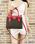 Michael Kors Mott Small Satchel Brown MK Coral PVC Leather MD Messenger