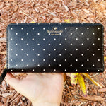 Kate Spade Brooks Drive Lacey Wallet Black Cement Polka Dot