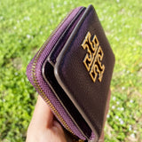 Tory Burch Britten Mini Wallet Zip Bifold Card Case Plum Purple Leather
