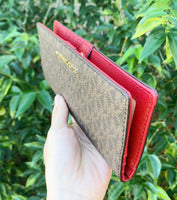Michael Kors Jet Set Travel Slim Bifold Wallet Brown MK Scarlet Red - Gaby's Bags