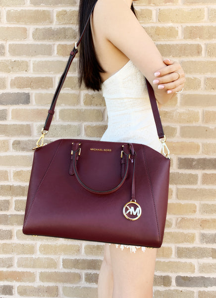 Michael Kors Ciara Large Top Zip Satchel Saffiano Leather Merlot - Gaby's Bags