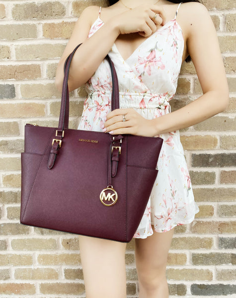 Michael Kors Charlotte Top Zip Tote Shoulder Bag Merlot Saffiano Leather