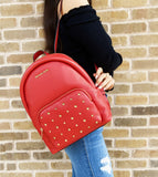 Michael Kors Erin Medium Studded Pebbled Leather Backpack Flame Red