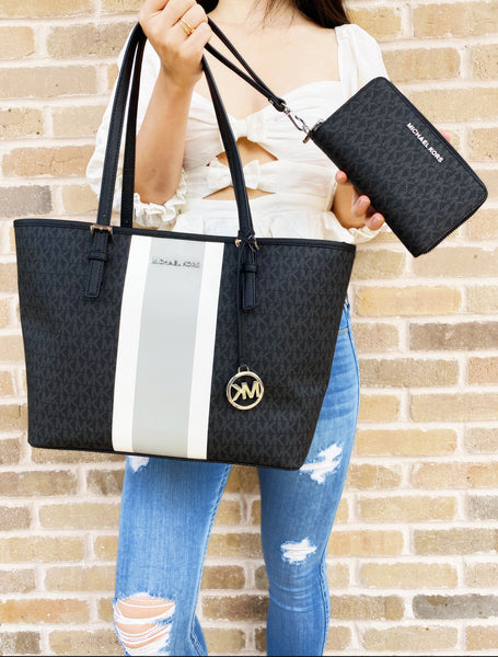 Michael Kors Jet Set Medium Carryall Tote Black MK Stripe + Wristlet Wallet