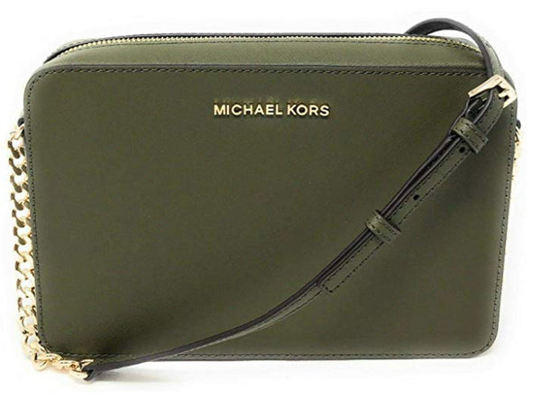 Michael Kors Jet Set East West Large Crossbody Saffiano Leather Duffle Green - Gaby's Bags