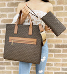 Michael Kors Kenly Large Tote Satchel Brown MK XL Crossbody + Continental Wallet