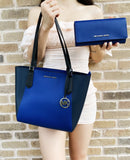 Michael Kors Kimberly SM Bonded Tote + Large Continental Wallet (Black/Cobalt)