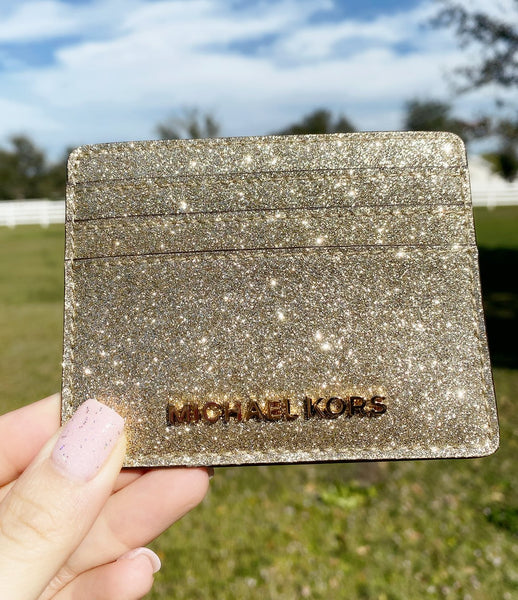 Michael Kors Giftables Jet Set Travel Large Card Holder Pale Gold Glitter
