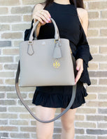 TORY BURCH Robinson Triple-Compartment Tote Gray Heron - Gaby's Bags