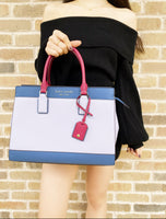Kate Spade Cameron Large Top Zip Satchel Crossbody Frozen Lilac Multi Red