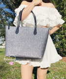 Kate Spade Joeley Glitter Penny Large Top Zip Tote + Continental Wallet SET Navy - Gaby's Bags