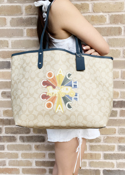 Coach F76632 Reversible City Tote Signature Light Khaki Rainbow LOGO - Gaby's Bags